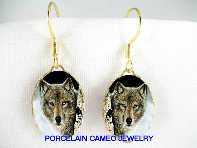 GREY WOLF IN THE SNOW FOREST CAMEO PORCELAIN EARRINGS