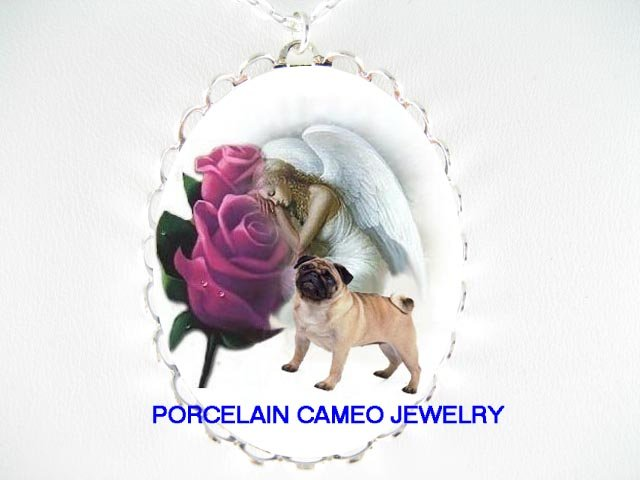 PUG DOG ANGEL PURPLE ROSE PORCELAIN CAMEO NECKLACE