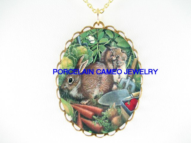 2 RABBIT BUNNY CARROT STRAWBERRY BUTTERFLY NECKLACE