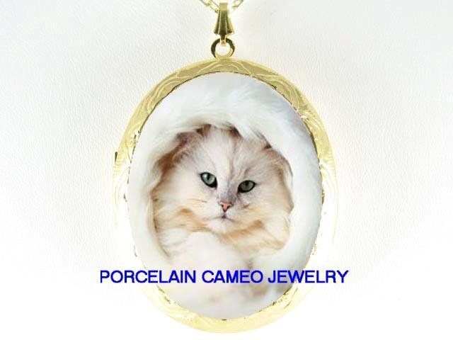 WHITE PERSIAN CAT GREEN EYES CAMEO PORCELAIN LOCKET
