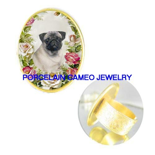 SWEET CUTE PUG DOG PINK ROSE PORCELAIN CAMEO ADJ RING 5-9