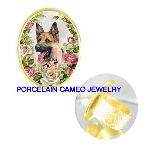 GERMAN SHEPHERD DOG MOM PUPPY ROSE PORCELAIN CAMEO RING