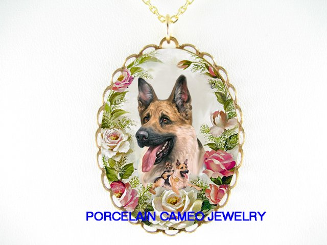 GERMAN SHEPHERD DOG MOM PUPPY ROSE PORCELAIN CAMEO NECKLACE
