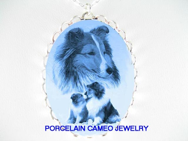 DANISH BLUE SHELTIE MOM KISSING PUPPY CAMEO NECKLACE