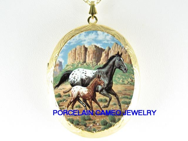2 APPALOOSA HORSE MARE FOAL RUN CAMOE PORCELAIN LOCKET