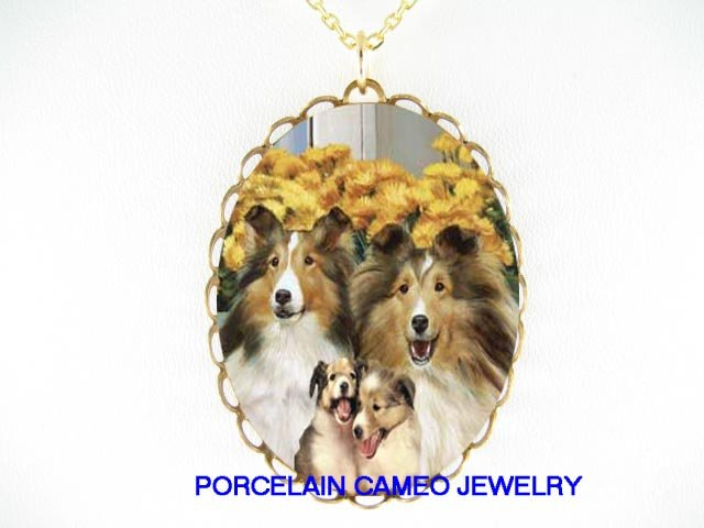4 HAPPY SHELTIE SHEEPDOG FAMILY CAMEO PORCELAIN NECKLACE
