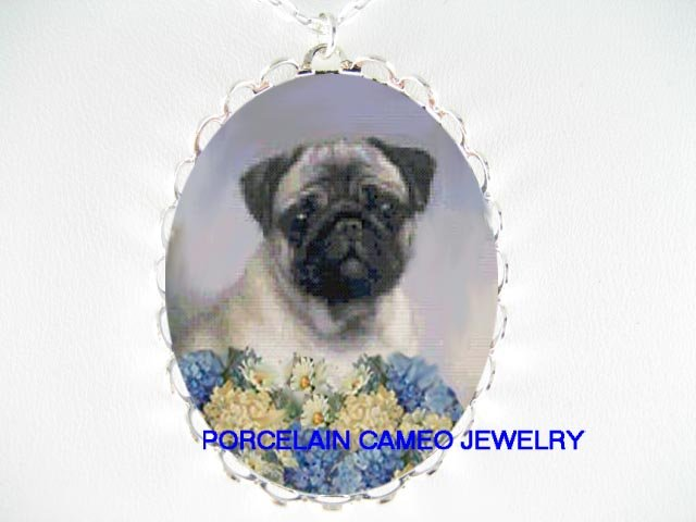 SWEET PUG DOG HYDRANGEA DAISY PORCELAIN CAMEO NECKLACE