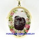 BLACK PUG DOG PINK ROSE PORCELAIN CAMEO LOCKET NECKLACE