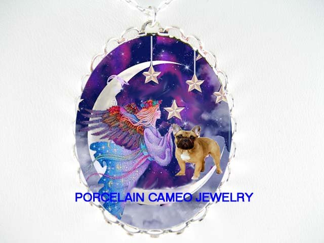 ANGEL FRENCH BULLDOG MOON STAR PORCELAIN CAMEO NECKLACE
