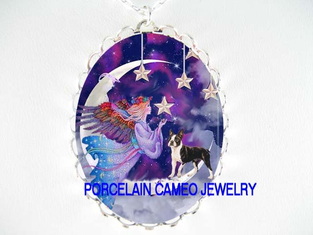 ANGEL BOSTON TERRIER DOG MOON STAR PORCELAIN CAMEO NECKLACE