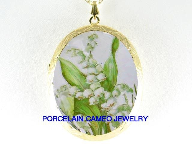 LILY OF THE VALLEY* CAMEO PORCELAIN LOCKET NECKLACE