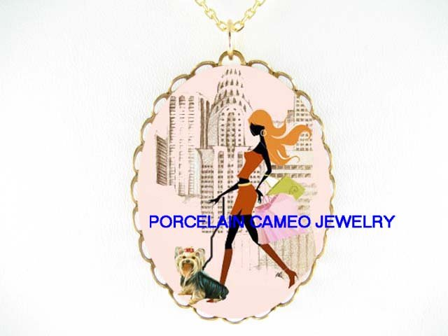 SHOPPING GIRL WALKING YORKSHIRE TERRIER DOG CAMEO NECKLACE