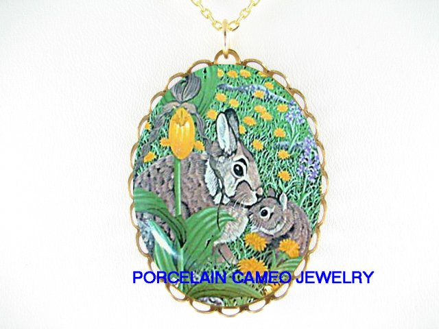RABBIT MOM KISSING BABY TULIP PORCELAIN CAMEO NECKLACE