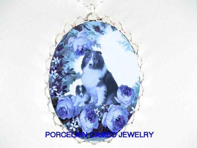 DANISH BLUE SHELTIE SHEEPDOG MOM PUPPY ROSE NECKLACE