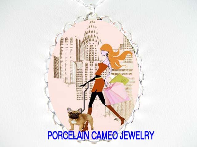 SHOPPING GIRL WALKING FRENCH BULLDOG CAMEO NECKLACE