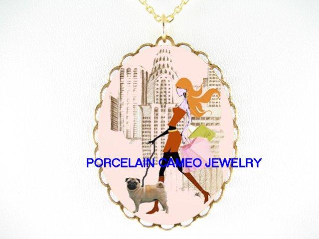 SHOPPING LADY WALKING PUG DOG PORCELAIN CAMEO NECKLACE