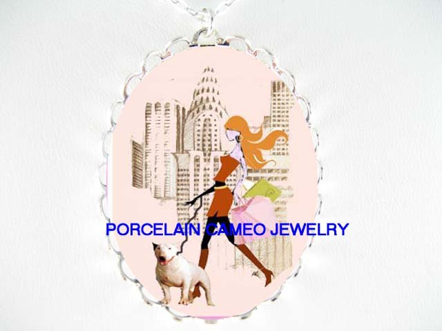SHOPPING LADY WALKING BULL TERRIER DOG CAMEO NECKLACE