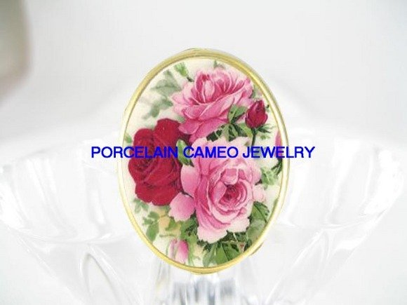 3 VICTORIAN ENGLISH PINK ROSE PORCELAIN CAMEO RING 5-9