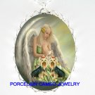 2 YORKSHIRE TERRIER DOG ANGEL MOON CAMEO NECKLACE