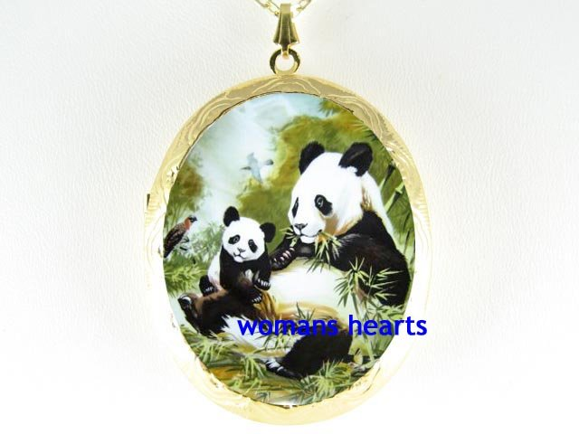 PANDA MOM BABY CUB BIRD PORCELAIN CAMEO LOCKET NECKLACE