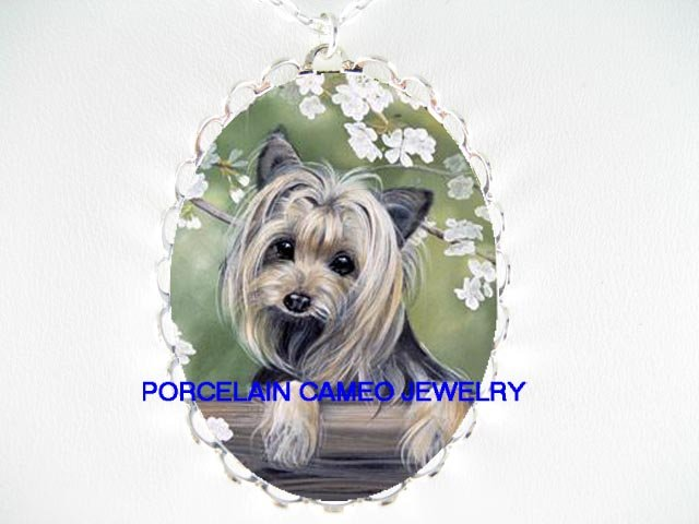 YORKSHIRE TERRIER DOG CHERRY BLOSSOM CAMEO NECKLACE