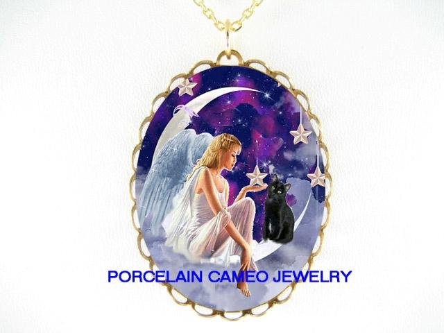ANGEL BLACK CAT MOON STAR PORCELAIN CAMEO NECKLACE