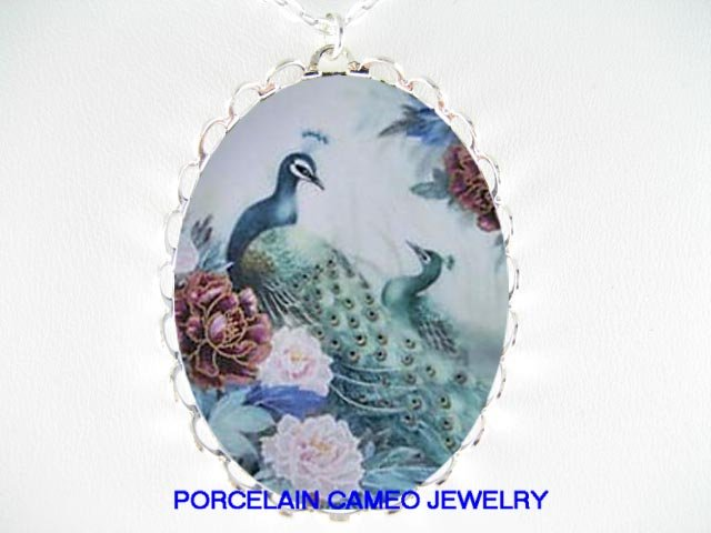 PEACOCK BIRD CHINESE PEONY PORCELAIN CAMEO NECKLACE