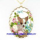 CHIHUAHUA DOG ROSE FORGETMENOT PORCELAIN CAMEO NECKLACE