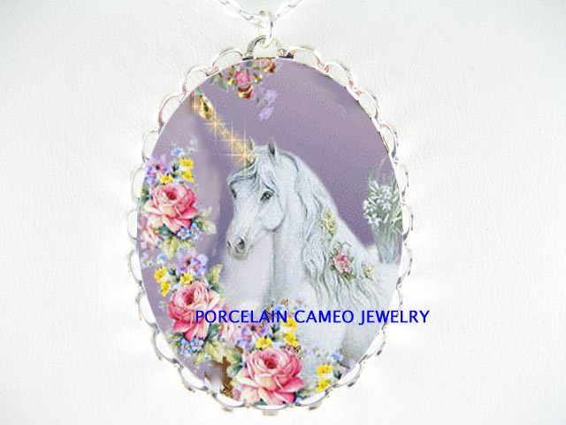 WHITE UNICORN HORSE ROSE PORCELAIN CAMEO NECKLACE