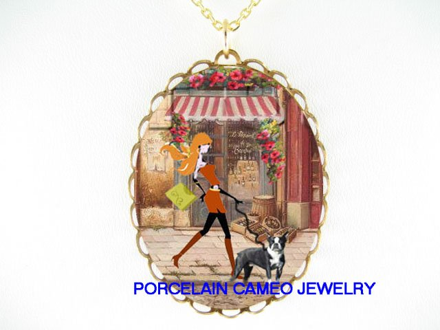SHOPPING LADY WALKING BOSTON TERRIER DOG CAMEO NECKLACE