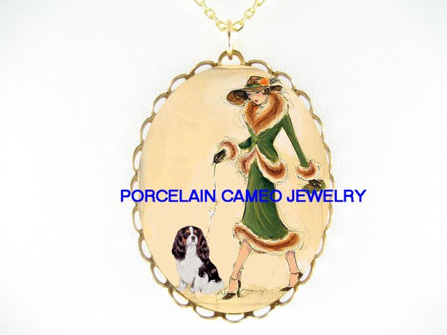 LADY WALKING CAVALIER KING CHARLES SPANIEL DOG NECKLACE