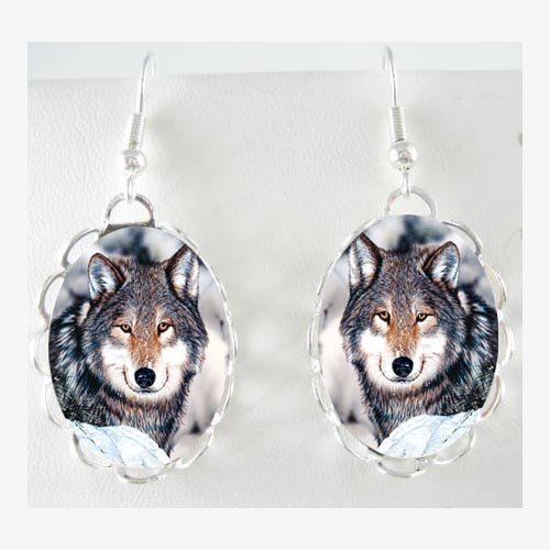 SMILING GREY WOLF SNOW FOREST PORCELAIN CAMEO EARRINGS