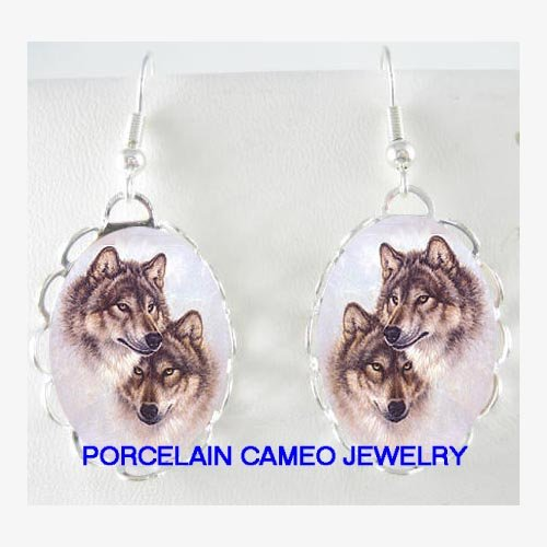 2 CUDDLING GREY WOLF POERCELAIN CAMEO EARRINGS