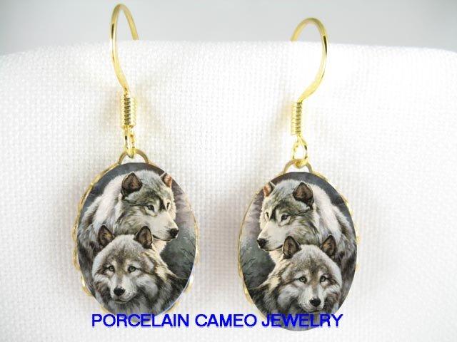 2 CUDDLING GREY WOLF POERCELAIN CAMEO EARRINGS