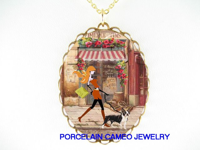 SHOPPING LADY WALKING BOSTON TERRIER DOG CAMEO NECKLACE -