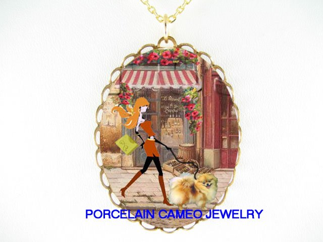 SHOPPING LADY WALKING POMERANIAN DOG NECKLACE