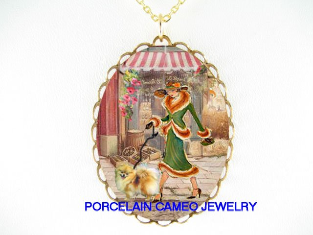 SHOPPING LADY WALKING POMERANIAN DOG CAMEO NECKLACE