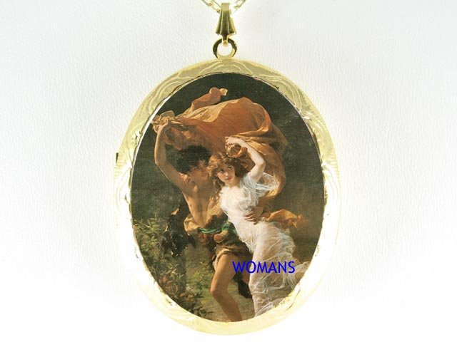 RENAISSANCE YOUNG COUPLE LOVER CAMEO LOCKET NECKLACE