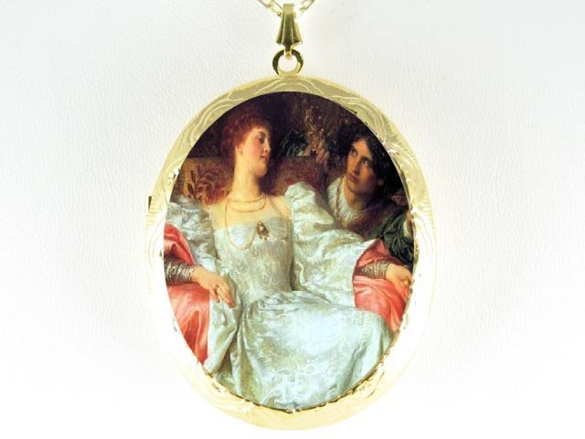 RENAISSANCE PRINCESS HER LOVER CAMEO LOCKET NECKLACE