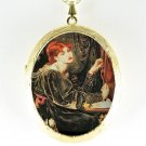 JOHN WATERHOUSE LADY PLAY MUSIC CAMEO PORCELAIN LOCKET