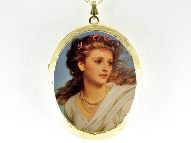 RENAISSANCE POPPY FLOWER GODDES CAMEO PORCELAIN LOCKET NECKLACE