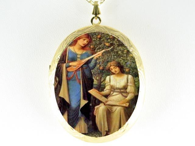JOHN WATERHOUSE TWO SISTERS PLAY MUSIC CAMEO LOCKET