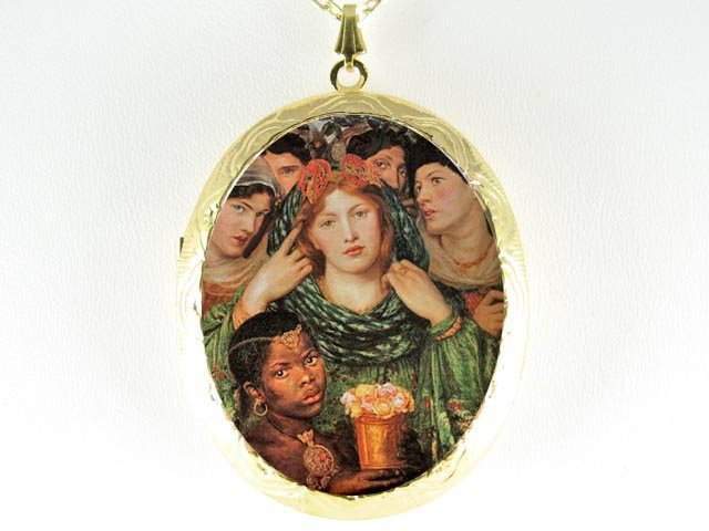 JOHN WATERHOUSE PRINCESS FLOWER CAMEO LOCKET NECKLACE