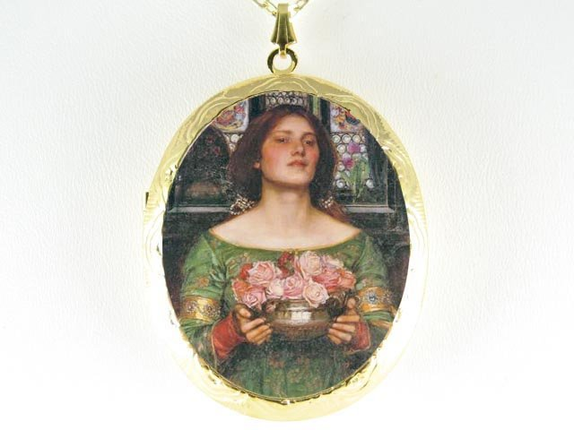 JOHN WATERHOUSE LADY CARRY ROSE CAMEO PORCELAIN LOCKET