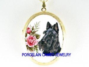 SCOTTISH TERRIER DOG ROSE PORCELAIN CAMEO LOCKET NECKLACE