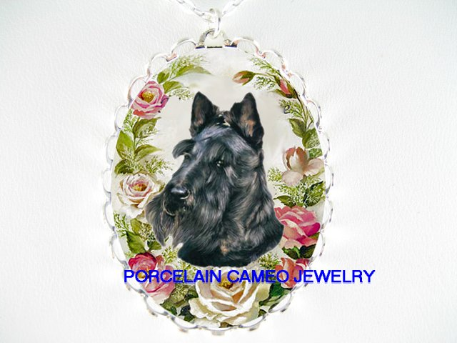 SCOTTISH TERRIER DOG PINK ROSE PORCELAIN CAMEO NECKLACE