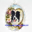 BORDER COLLIE ROSE HEART FORGET ME NOT CAMEO NECKLACE