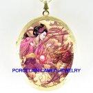 JAPAN PINK GEISHA LADY DRAGON PORCELAIN CAMEO LOCKET