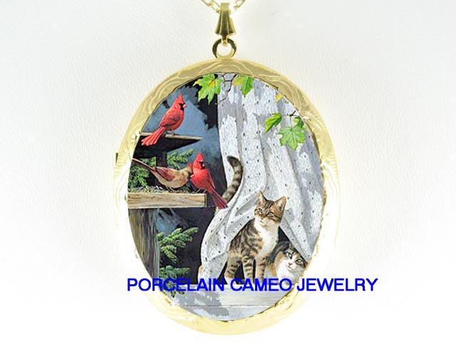 2 GRAY KITTY CAT WINDOW WATCHING CARDINAL BIRD LOCKET