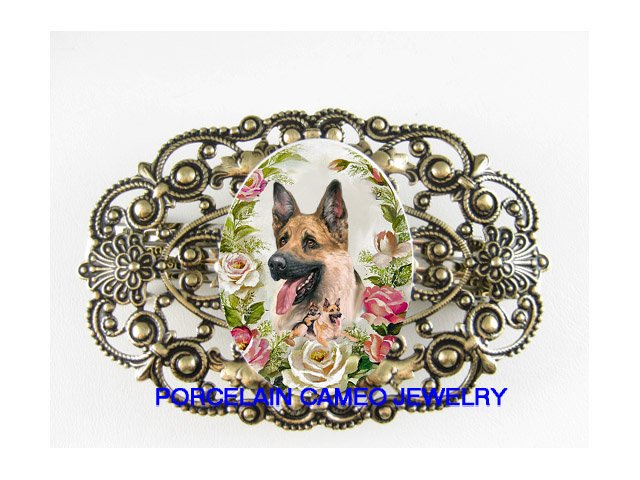 GERMAN SHEPHERD DOG MOM PUPPY ROSE PORCELAIN BARRETTE